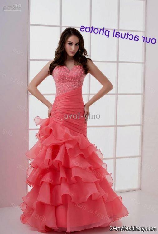 coral prom dress mermaid 2016-2017 | B2B Fashion