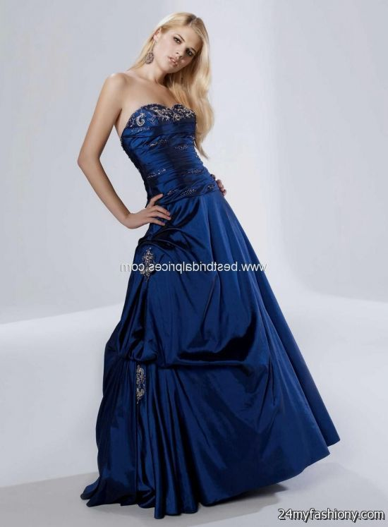 Images of Midnight Blue Prom Dress - Reikian