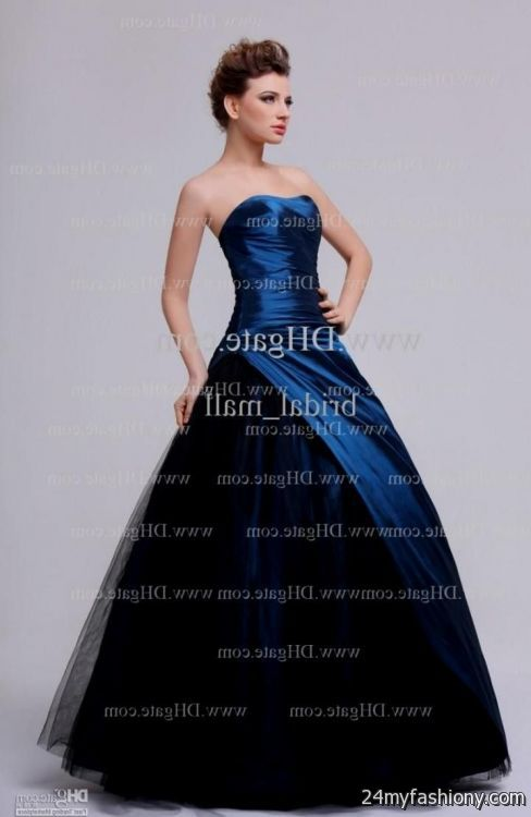 Black And Dark Blue Prom Dress - Missy Dress