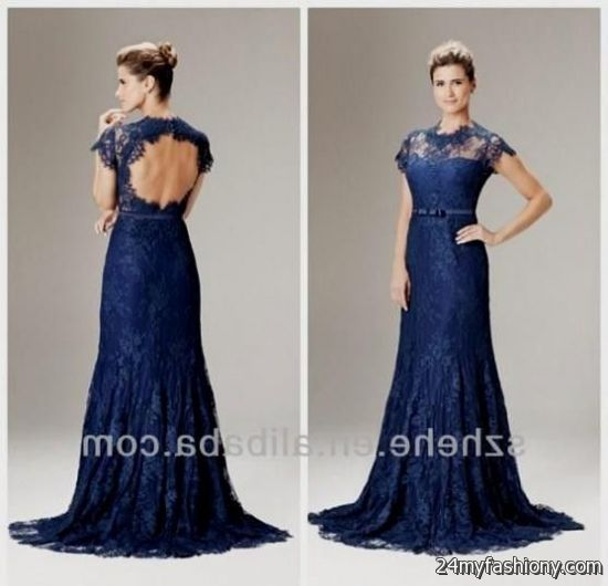 Blue dark lace prom dress photos