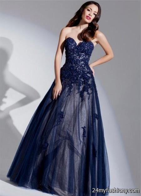 Dark Blue Lace Prom Dress Looks B2b Fashion