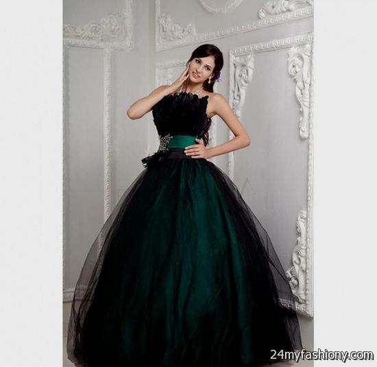 Dark green and black prom dress