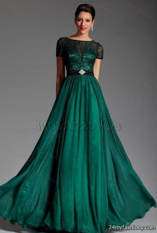 dark green evening gown long sleeve 2016-2017 | B2B Fashion