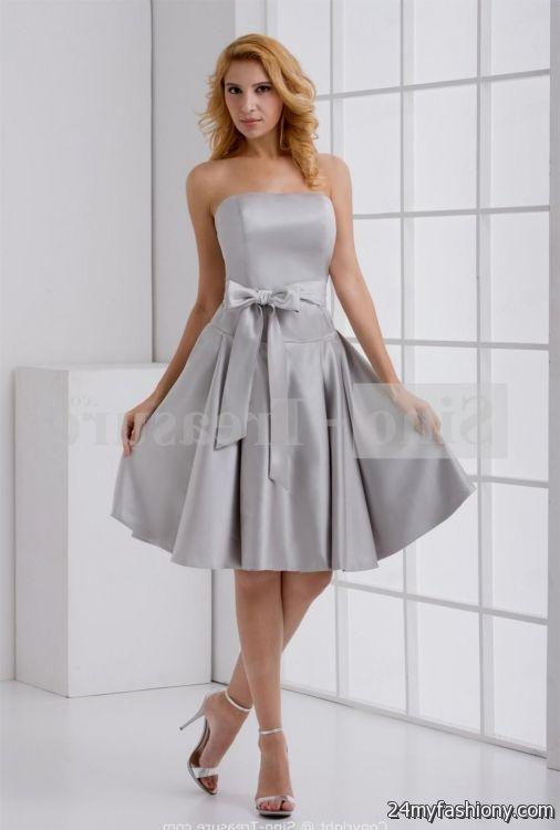 Dark silver bridesmaid dresses
