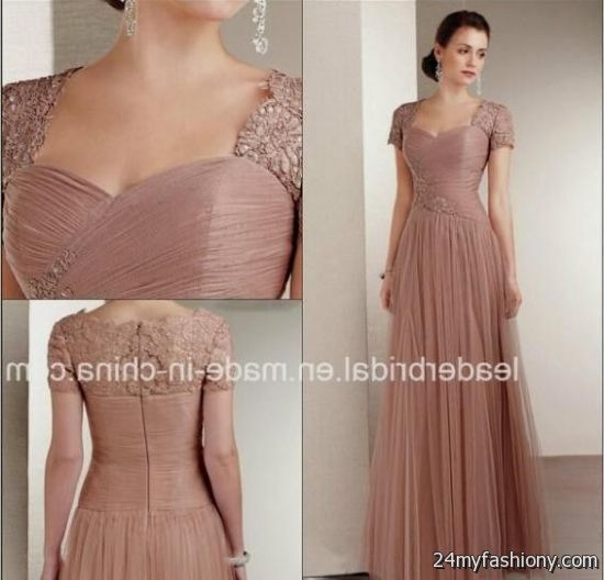 Lace peach prom dresses