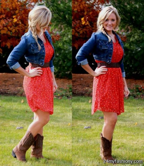 dress with cowboy boots and denim jacket looks b2b fashion