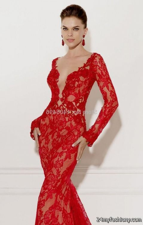 Red Evening Gowns With Lace - Plus Size Tops