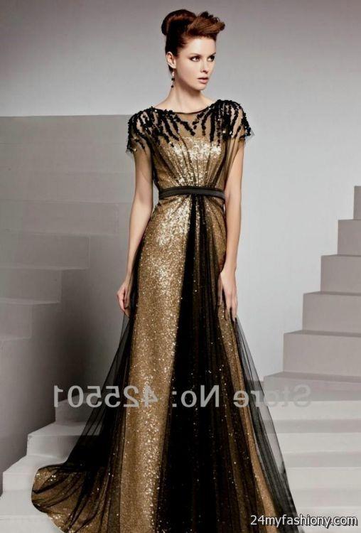 Gold And Black Sequin Dress Long Looks B2b Fashion