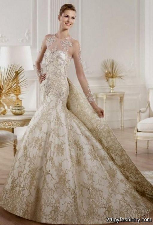 Gold and white lace wedding dress 2016 2017 b2b fashion for White and gold lace wedding dress
