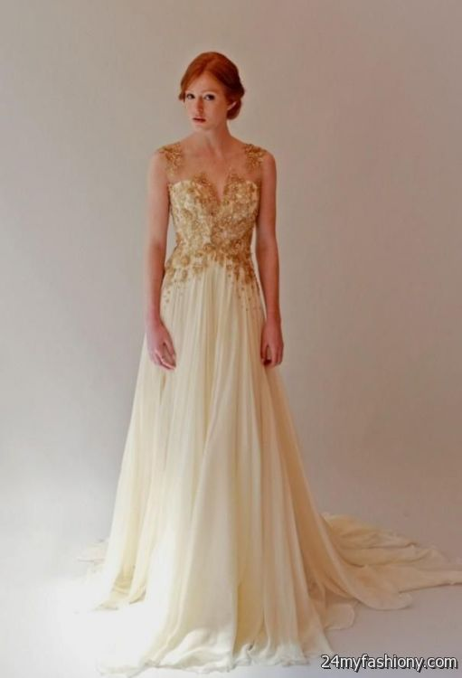 Gold beaded wedding gown 2016 2017 b2b fashion for Gold beaded wedding dress