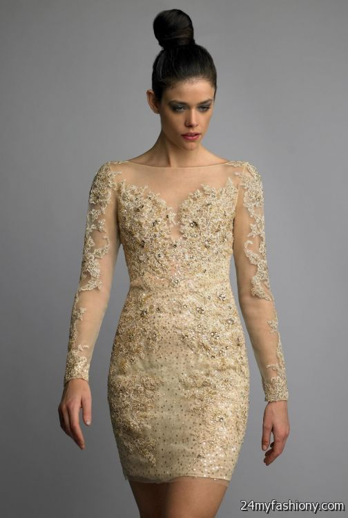 Gold Cocktail Dresses With Sleeves - Ocodea.com
