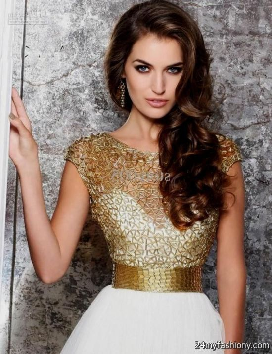 gold cocktail dress with sleeves 2016-2017   B2B Fashion