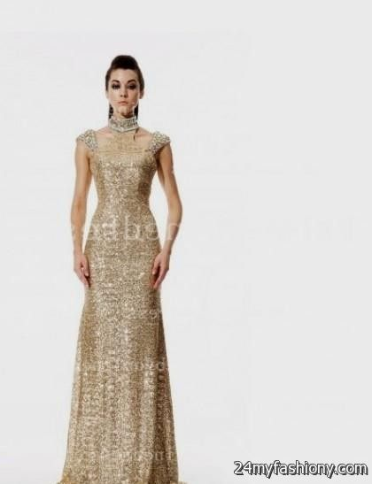 gold evening gowns with sleeves 2016-2017 » B2B Fashion