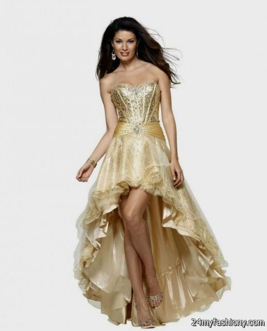 Prom Dresses 2017 High Low Gold - Boutique Prom Dresses
