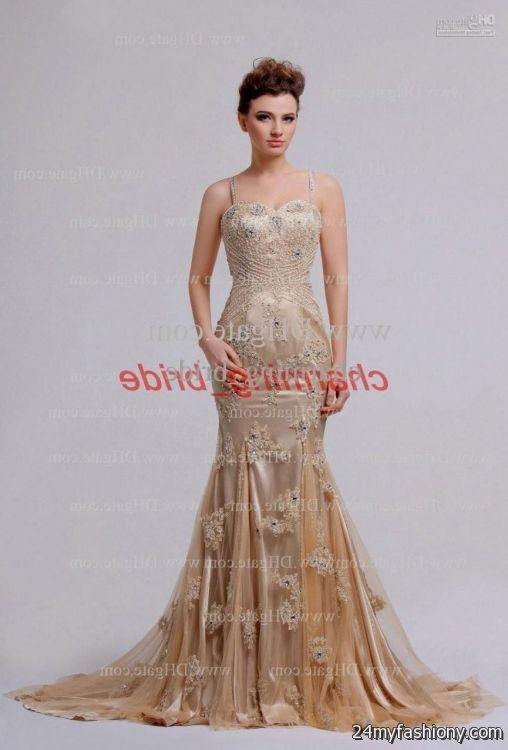 Gold Lace Prom Dress_Prom Dresses_dressesss