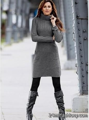 Gray Sweater Dress Outfits 2016 2017