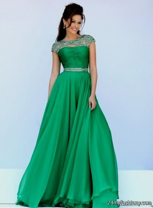 green ball gown with sleeves 2016-2017 » B2B Fashion