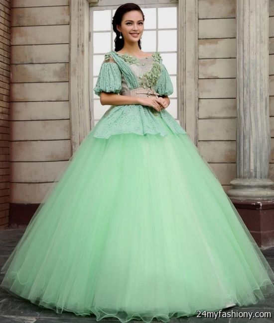 green ball gown with sleeves 2016-2017 | B2B Fashion