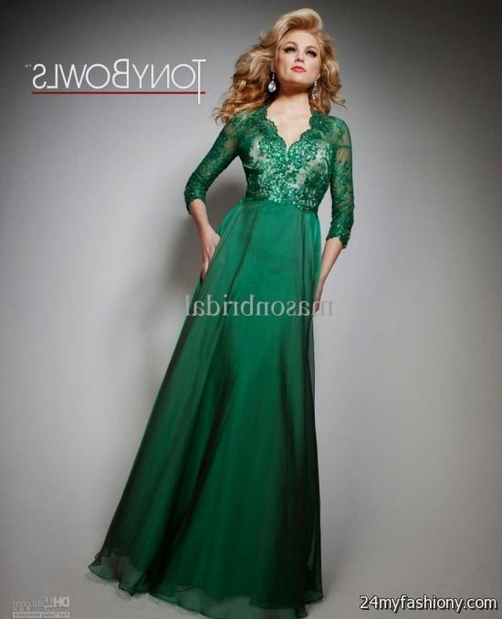 green evening gown with sleeves 2016-2017 » B2B Fashion