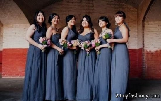 Blue Gray Bridesmaid Dresses Fashion