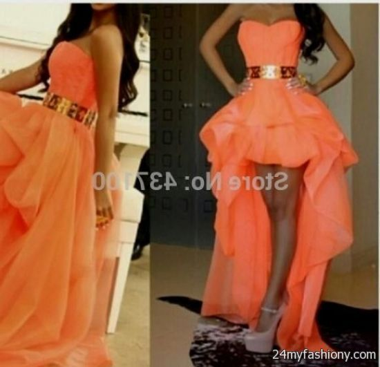 Gold and Peach High Low Prom Dresses