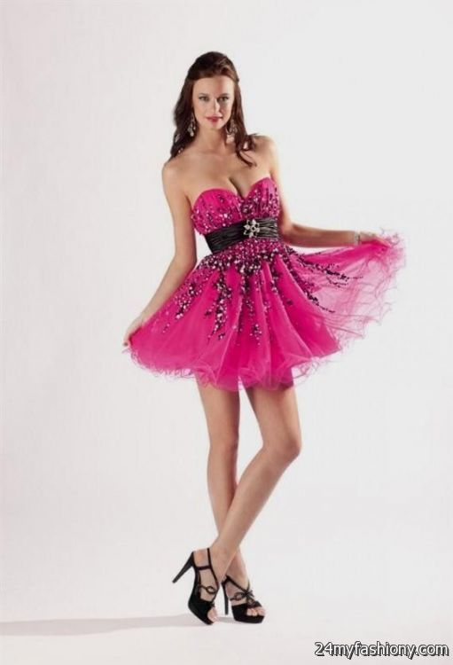 Prom Dresses Hot Pink And Black 3