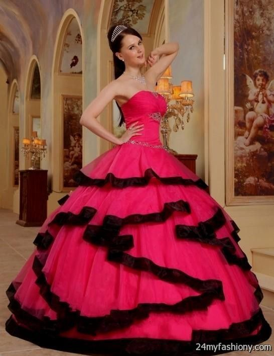 Hot pink and black dresses