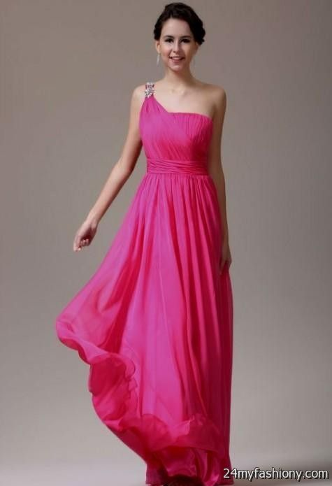 hot pink one shoulder bridesmaid dresses 2016-2017 » B2B Fashion