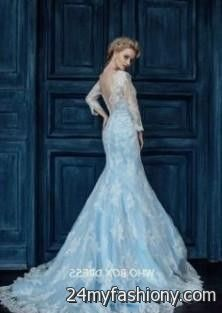 Blue Lace Wedding Gown