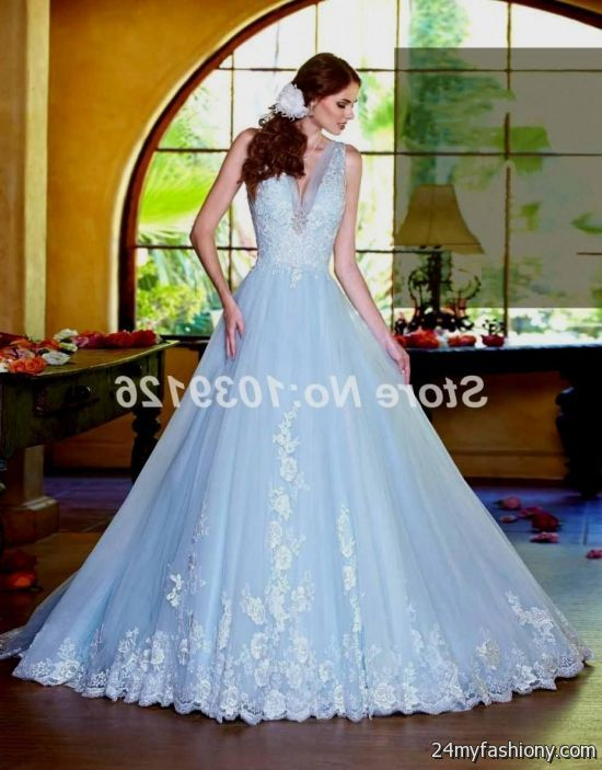Ice blue lace wedding dress 2016 2017 b2b fashion for Ice blue wedding dress