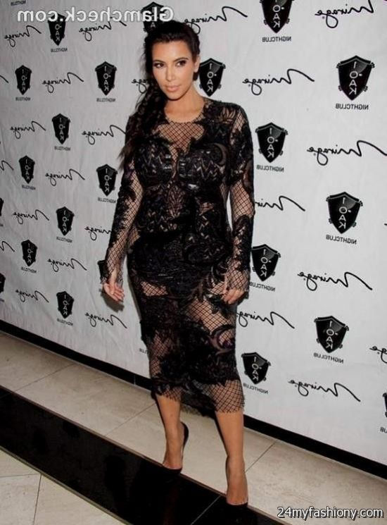 Kim Kardashian Black Lace Dress