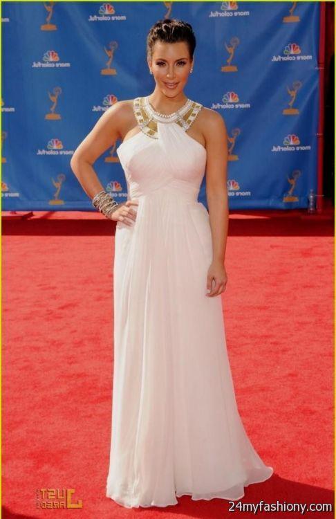 White Red Carpet Kim Kardashian One Celebrity dresses Long ...  |Kim Kardashian Red Carpet Dresses