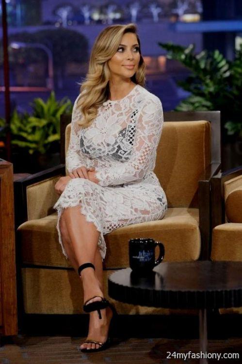 kim kardashian white lace dress looks   B2B Fashion