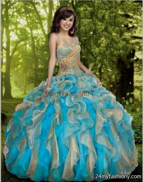 Light Blue And Gold Quinceanera Dresses - Missy Dress