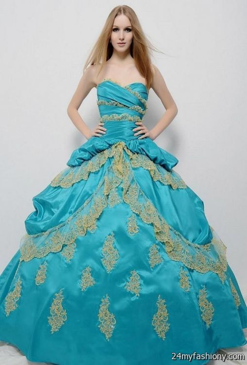 light blue and gold quinceanera dresses 2016-2017 | B2B