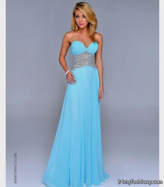 Light blue prom dress with sleeves 2017