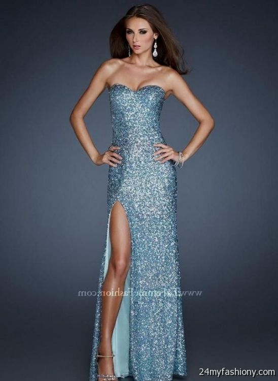 Collection Light Blue Sequin Prom Dress Pictures - Reikian