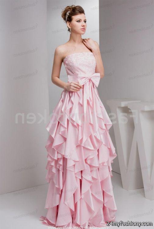 Light pink prom dress strapless 2017