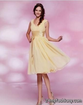 Yellow and pink cocktail dresses