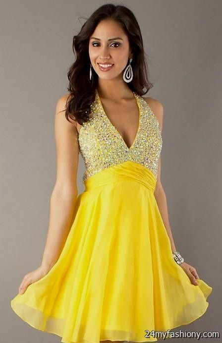 Yellow Cocktail Dresses 17