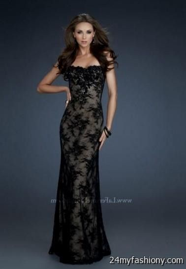 Black lace prom dress long