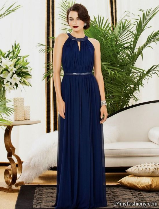 Long Dark Blue Summer Dress 2016 2017 B2b Fashion