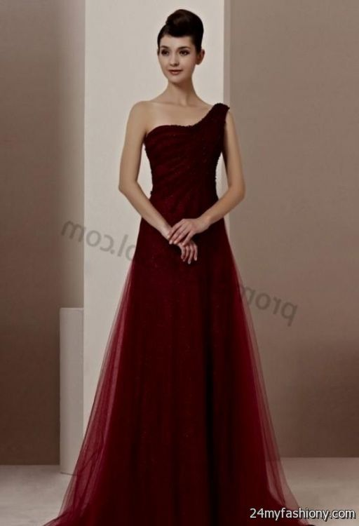Long dark red prom dresses with sleeves 2016 2017 b2b for Dark red wedding dress