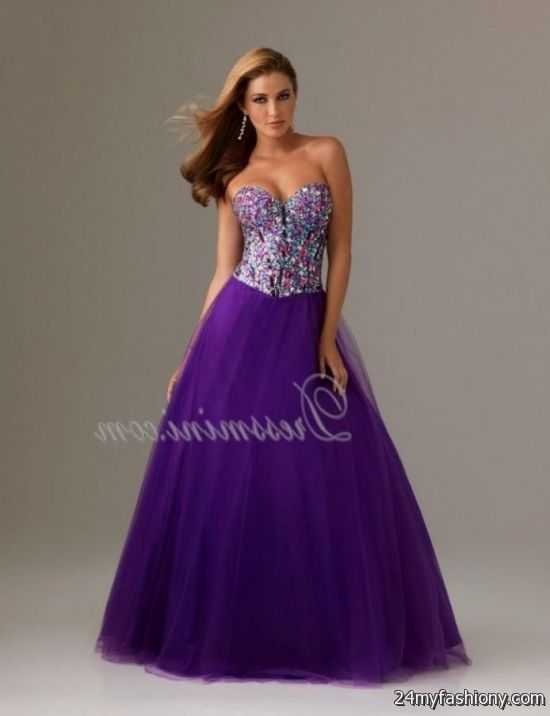 Long Purple Sparkly Prom Dress Looks B2b Fashion