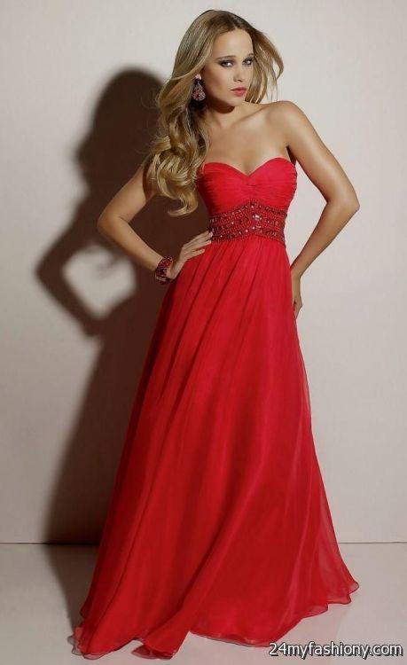 Red Strapless Prom Dress