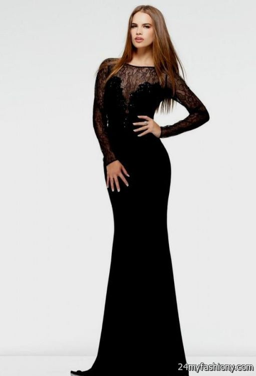 Long Sleeve Floor Length Black Dress 2016 2017