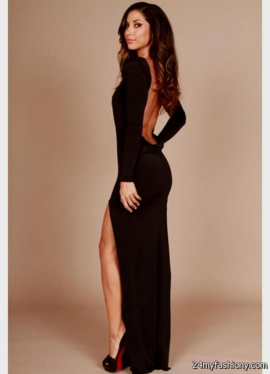 long sleeve long backless dress 2016-2017 | B2B Fashion