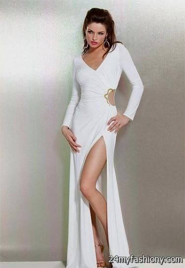 One sleeve long white dress.