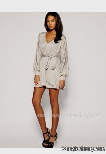 Images of Short Long Sleeve Dresses - Reikian