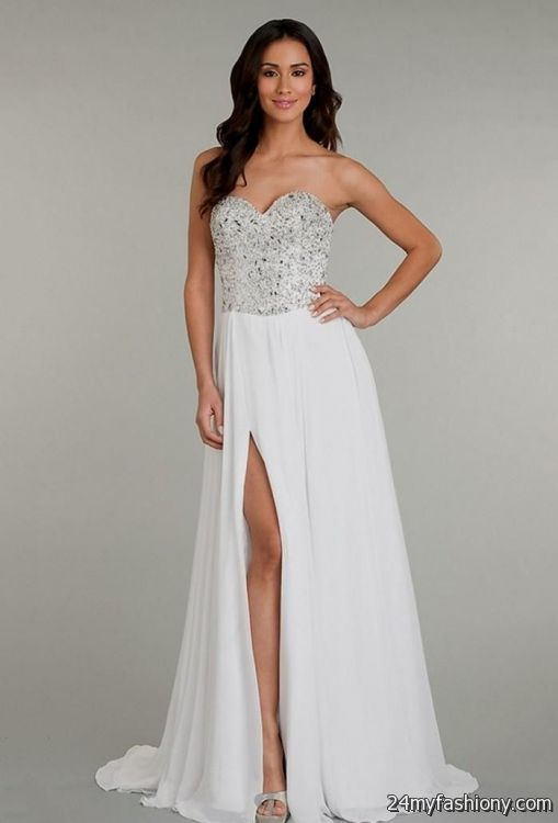 White Silver Prom Dresses - Boutique Prom Dresses